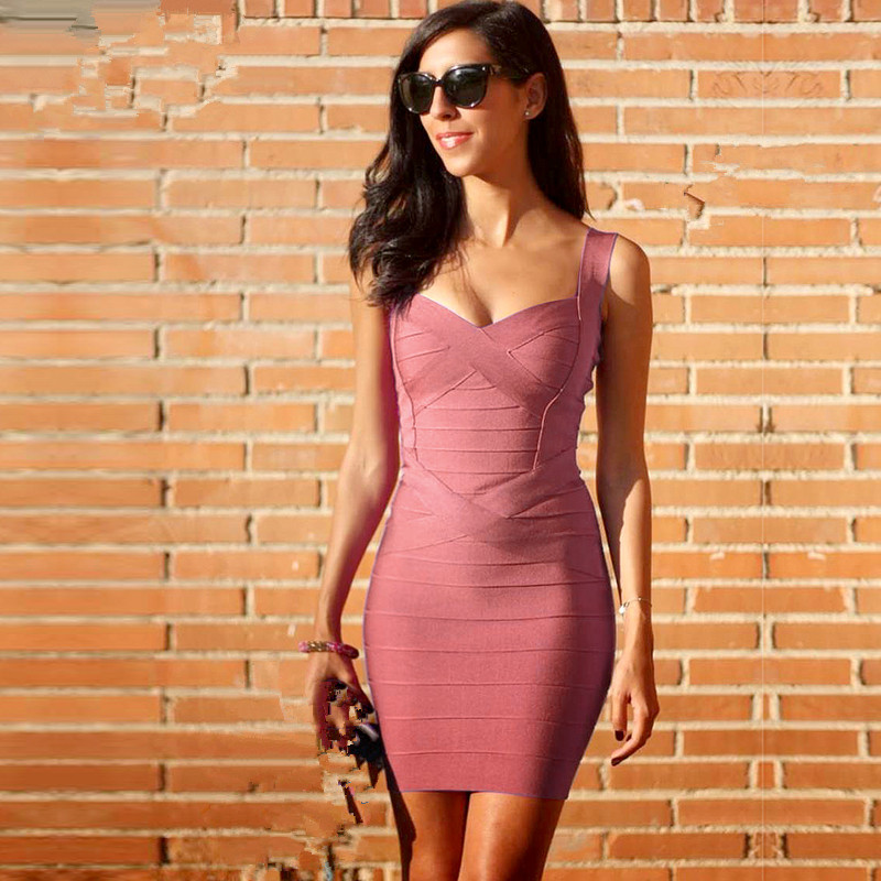 Must Have! Sexy Cute Mini Spaghetti Strap Bodycon Club Party Summer Bandage Wholesale Celebrity Women Dresses Femme Vestidos