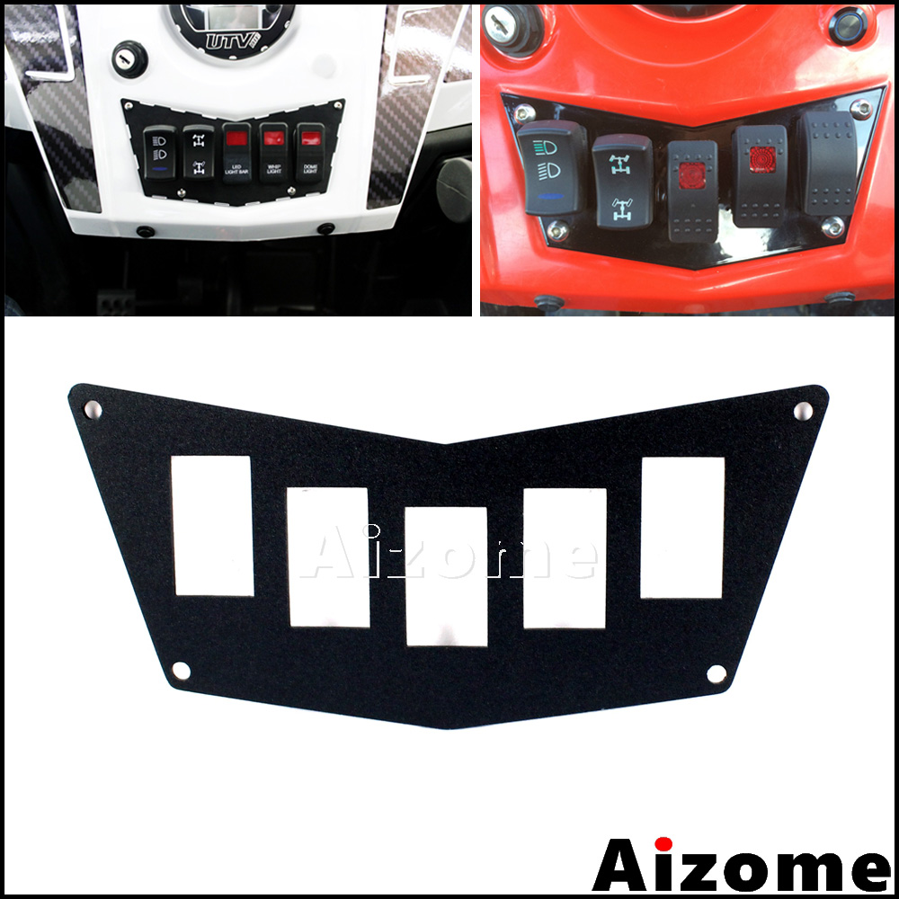 Aluminum <font><b>UTV</b></font> Switch Plate Panel For Polaris RZR 900 XP 2011-2014 RZR <font><b>800</b></font> RZR 570 Black Dash Switch Plate Panel image