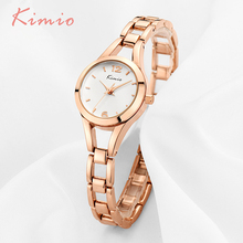 KIMIO Señoras Simples Pequeño Dial Redondo de Oro Rosa Esqueleto Pulsera Para Mujer Relojes 2017 Top Brand Reloj de Cuarzo Ocasional Waches Mujeres
