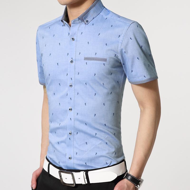 64cd14486 Mens Polka Dot camisa de vestir de verano nuevos hombres camisas de vestir  de manga de corea Slim Fit Oxford hilado camisa de estampado de moda hombres  2016 ...