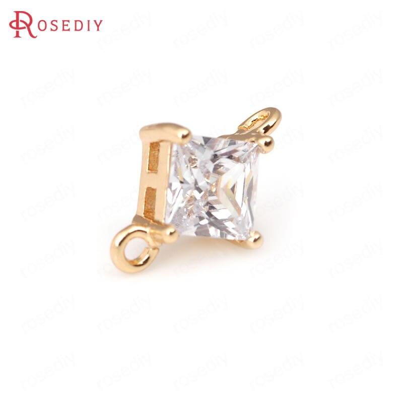 (31965)4 шт 6 мм 8 24k цвета шампанского золото латунь с цирконием