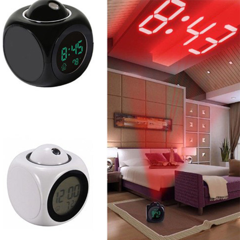 Best selling 2018 products Projection LED Display Time Digital Alarm Clock Talking Voice Prompt Thermometer Snooze Function Desk makeup organizer box