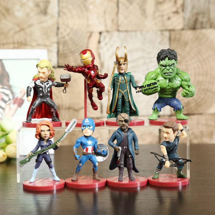 8pcs/set WCF Avengers 2 Age of Ultron PVC Figure Toys Thor Hulk Iron Man Captain America Black Widow Hawkeye Loki HRFG386 xinduplan marvel shield iron man avengers age of ultron mk45 limited edition human face movable action figure 30cm model 0778