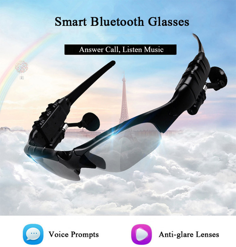 Bluetooth Sunglasses Outdoor Smart Sun Glasses Wireless Headset with Microphone for Smart Phones black normal 12