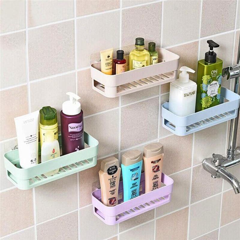 Wall Stick Type Bathroom Kitchen Corner Storage Rack