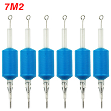 OPHIR 6PCS/Lot 7M2 Blue Disposable Tattoo Tube Tips with Nozzle Needles Grip _TA111(7M2)-6x