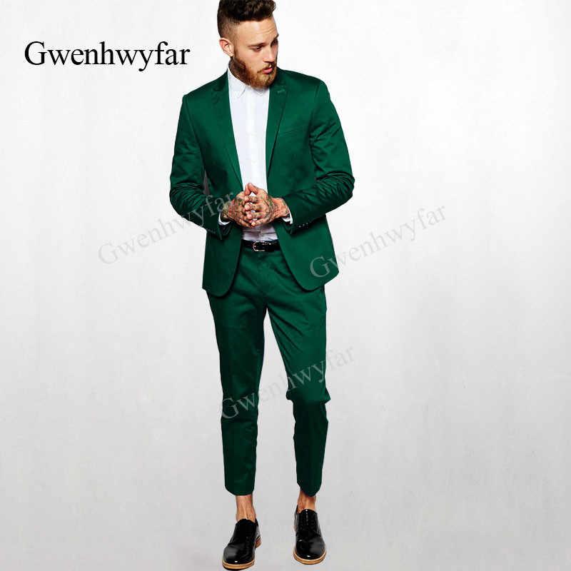 f025bd1a8931 Гвенвифар Высокое качество блестящие Для мужчин костюмы темно-зеленые Для  мужчин Блейзер брюки Slim Fit