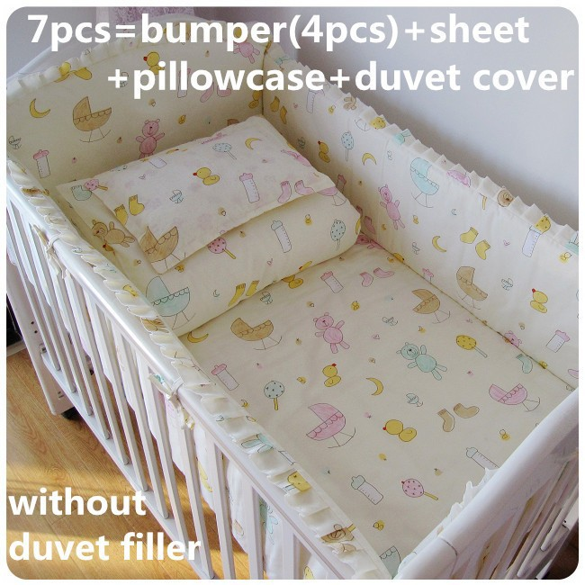 Promotion! 6/7PCS 100% cotton Fashion Lovely Printing New Baby Bedding Sets , 120*60/120*70cm