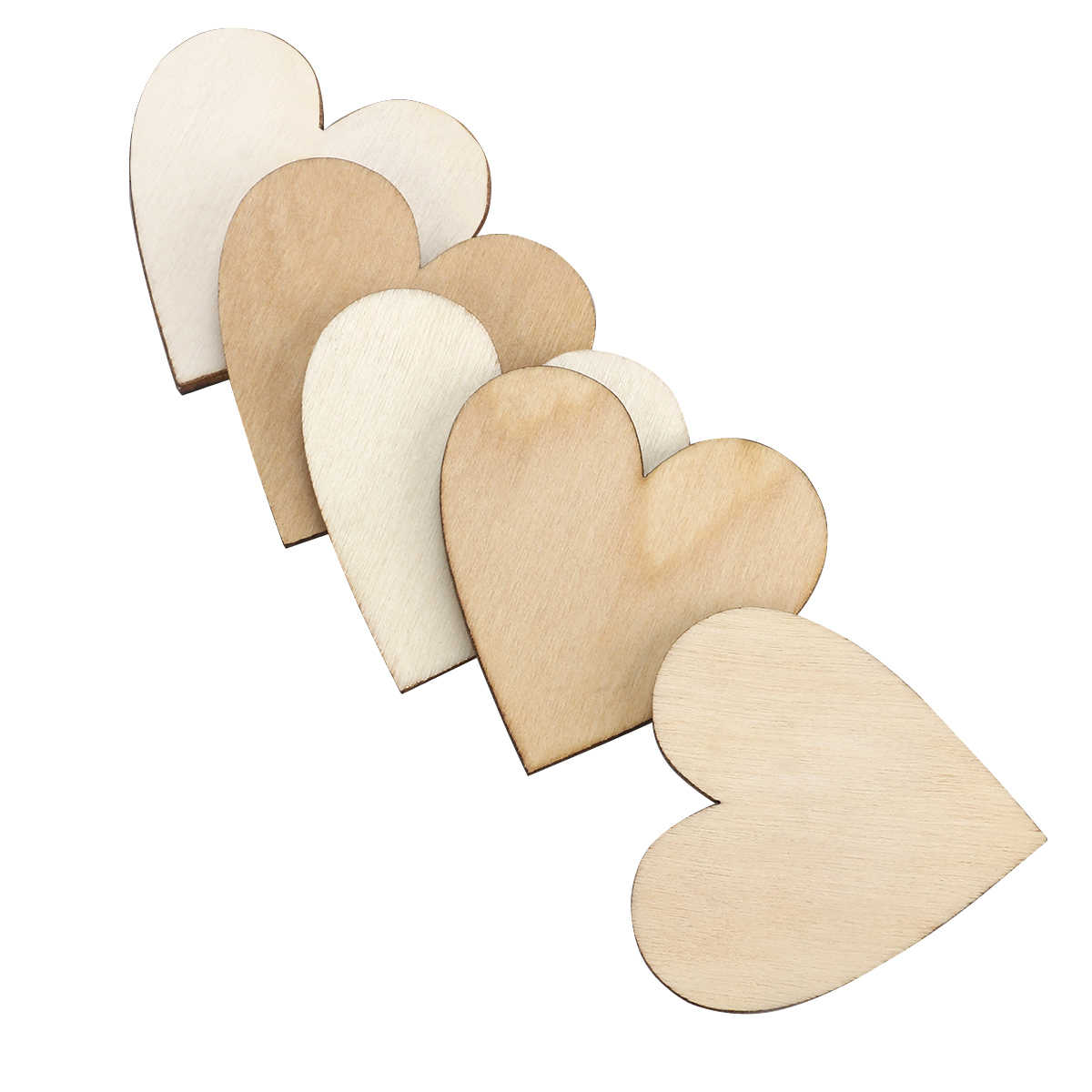 50pcs 40mm Wooden Heart Shaped Log Slices For DIY Crafts Wedding Home Decorations Wall Stickers (Wood Color)