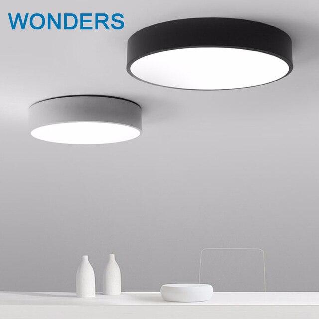 Lámpara de techo moderna LED negra blanca redonda simple Decoración ...