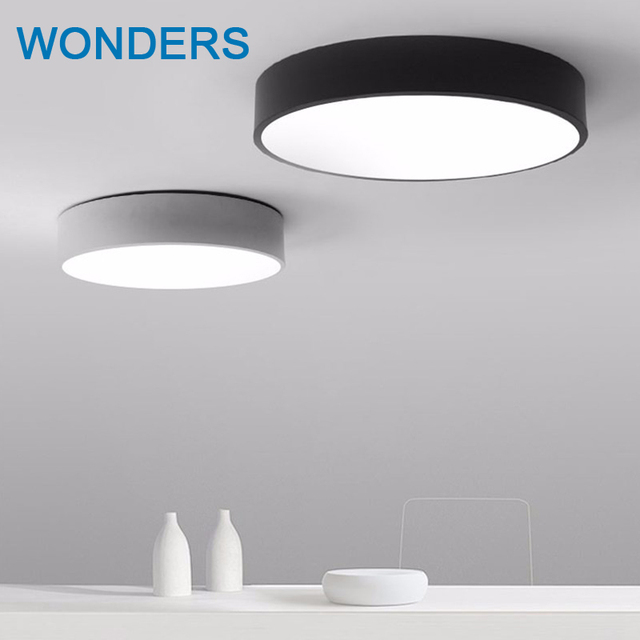 Modern Led Ceiling Light Black White Round Simple