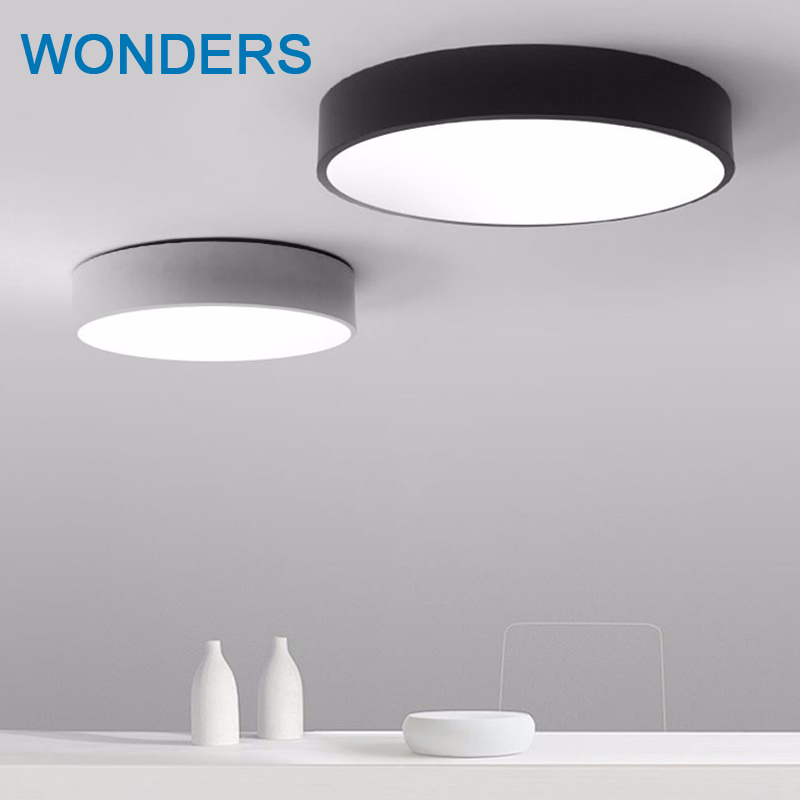 Modern LED ceiling light Black white Round simple decoration fixtures study dining room balcony bedroom living room ceiling lamp