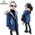 Meninas Outerwear do Inverno das Crianças de Veludo Quente Casaco Meninos Da Criança Calça Jeans Casaco Jaqueta Jeans Com Capuz Peludo