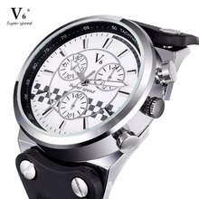 V6 Fashion Brand Watches for Men Sports Waterproof Leather Watches Casual Quartz Watch Men Military Wrist Watch clock relogios