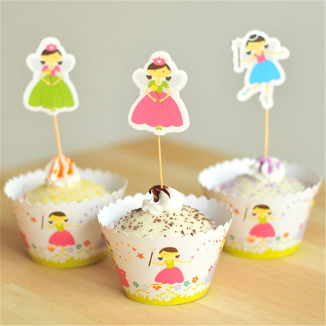 Flying Fairy Cupcake Wrapper Toppers For Gils Children Happy Birthday Decoration Alexpress Uk Wedding Favors Supplies
