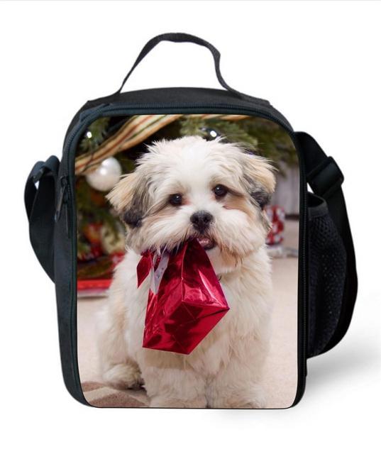 Isolados almoço sacos do presente do feliz Natal para as crianças da escola, trabalho de escritório recipiente almoço para adultos, lunch box bag com alças