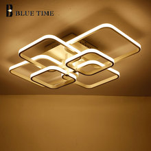 New Square Rings Frame Modern Led Ceiling Lights For Living Room Bedroom White Or Black Arms Ceiling Lighting Fixtures AC85-260V veihao new modern led ceiling lamp for living room bedroom study indoor acrylic square round art ceiling lamp lighting ac85 260v