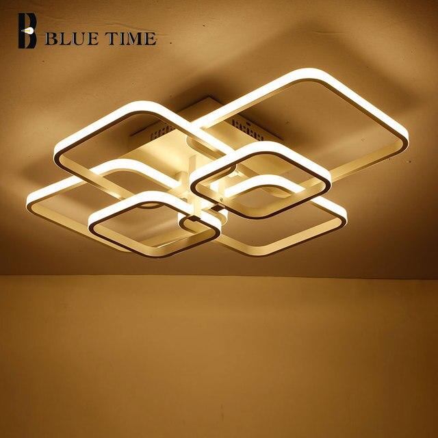 New Square Rings Frame Modern Led Ceiling Lights For Living Room Bedroom White Or Black Arms Ceiling Lighting Fixtures AC85 260V
