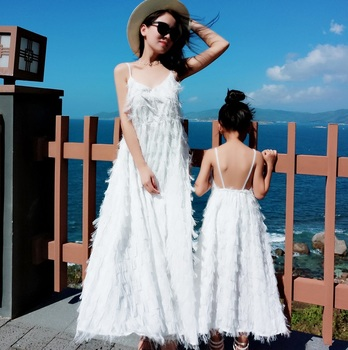 tank mother daughter dresses family matching outfits look mommy and me clothes mom mum mama daughter long tassel dress clothing