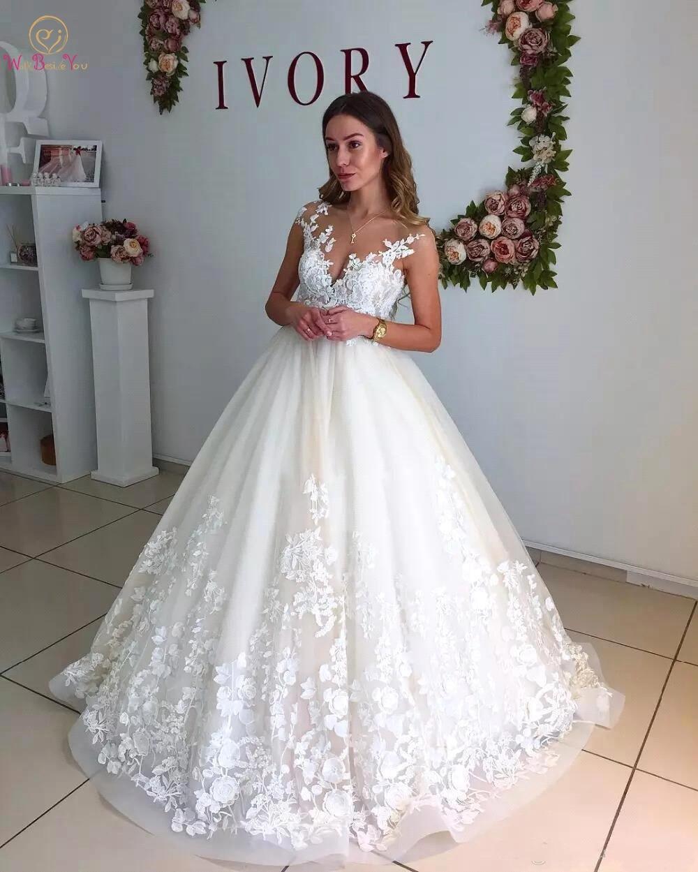 2020 Pregnant Wedding Dresses Elegant Lace Sheer Neck Capped