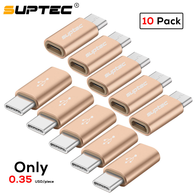 SUPTEC 10 Pack USB Adapter USB Type C Male To Micro USB Female OTG Adapter Type-C Converter Connector For Macbook Samsung S9 S8