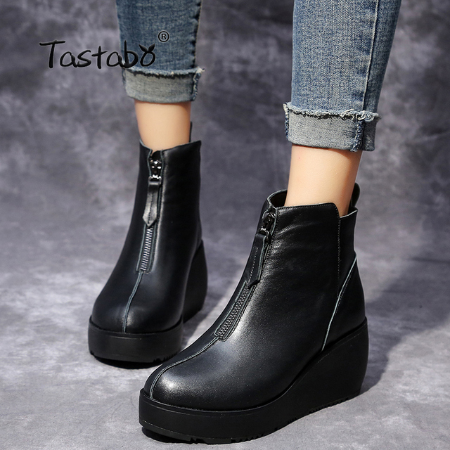 66c397d431 Tastabo Fashion Boots Women Handmade Genuine Leather Ankle Boots Ladies  Boots Soft Black Platform Wedges Shoes for Women