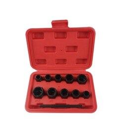 11 sztuk śruba z nakrętką Removers zestaw 9 19Mm blokowanie śruba koła nakrętka Stud Extractor Twist zestaw gniazd gwintowanie zestaw narzędzi ręcznych z pudełkiem w Zestawy narzędzi ręcznych od Narzędzia na