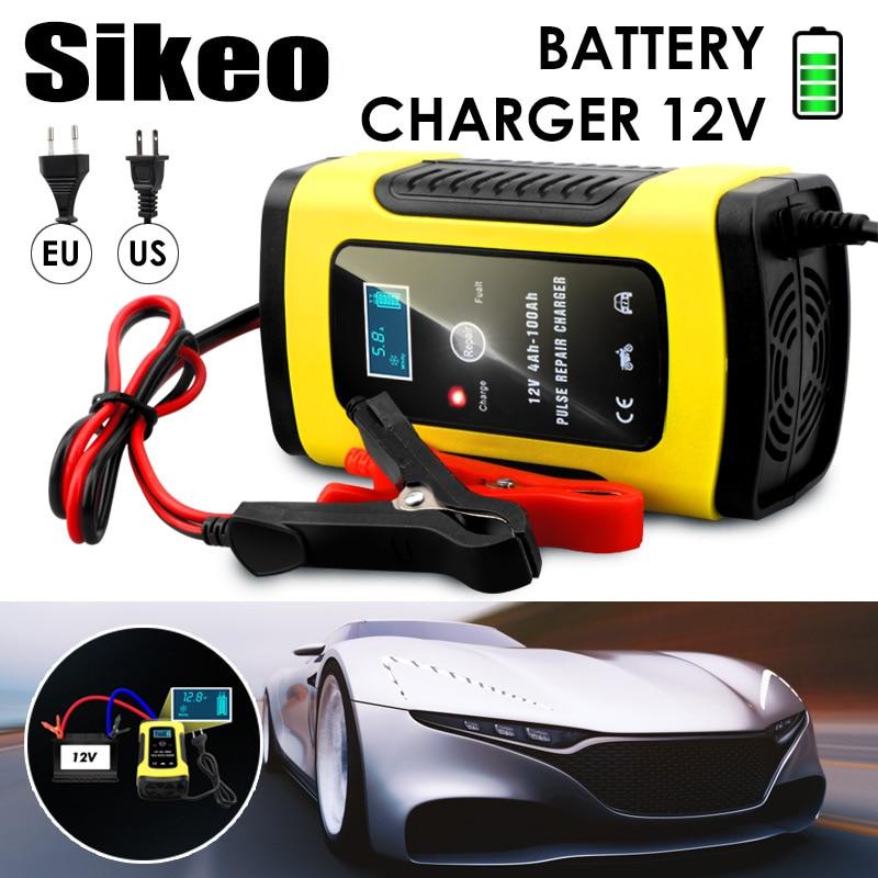 Cargador de batería de coche automático completo 110 V a 220 V a 12 V 6A LCD inteligente rápido para motocicleta automática carga de baterías de plomo-ácido
