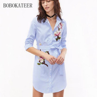 BOBOKATEER Summer Embroidery Loose Blue Striped V Neck Long Women Sleeve Embroidery Blouse Shirt Tops Blusas