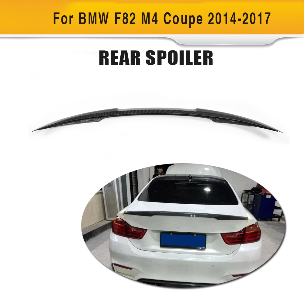 New 4 series Carbon Fiber Rear trunk spoiler boot Lid Wing for BMW F82 M4 Coupe 2 door 2014 - 2017 O style Car Styling Black FRPNew 4 series Carbon Fiber Rear trunk spoiler boot Lid Wing for BMW F82 M4 Coupe 2 door 2014 - 2017 O style Car Styling Black FRP