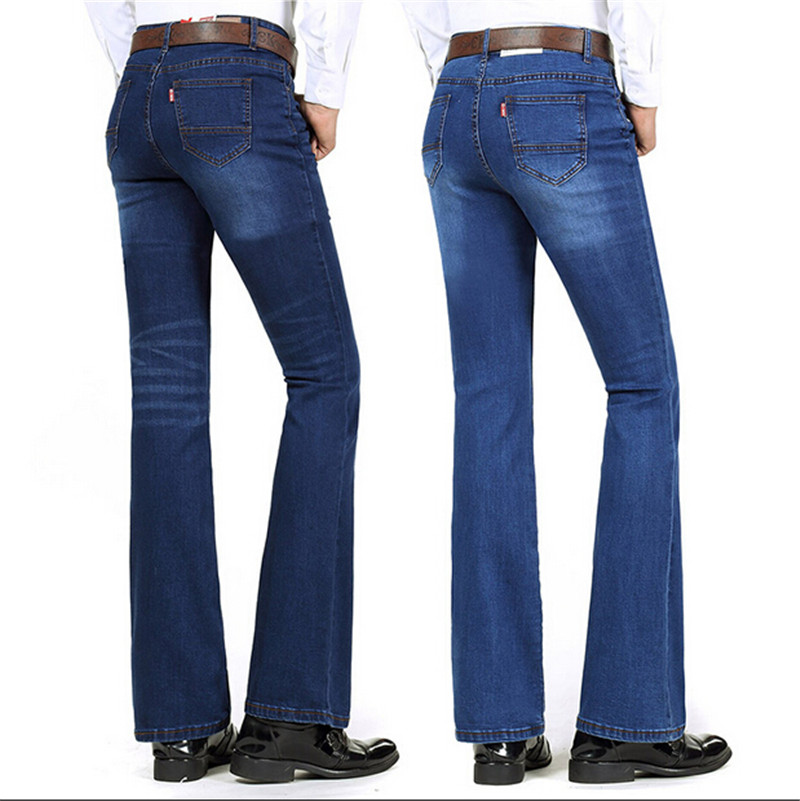 High Quality 2016 New Arrival Men's Jeans Slim Bell-bottom Boot Cut Pants Male Elastic 4 Colors Denim Flares Trousers  velvet boot cut bell bottom pants
