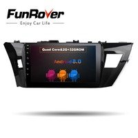 Funrover Android 8.0 2 din Car dvd player for Toyota corolla 2014 2015 gps navigation radio multimedia player 2G+32G QuadCore FM