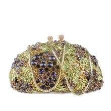 2016 frauen Luxus Kristall Einzigartiges Design Hohe Qualität Diamant Strass Handtasche Gold Kette Pochette Besetzt Abend Handtasche