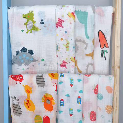 Cotton Baby Blankets Newborn Photography Prop Printed Infantil Baby Boy baby Girl Sleep Swaddle Muslin Diapers Baby Accessories Lahore