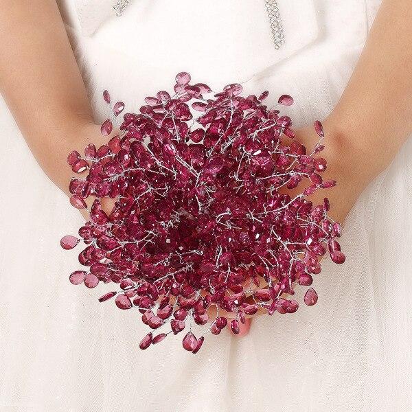 2017 Bridesmaid Wedding Bouquet Luxury Cheap Red Wine/Burgundy Wedding Flowers Bridal Bouquets Artificial Bridal Bouquet Rose