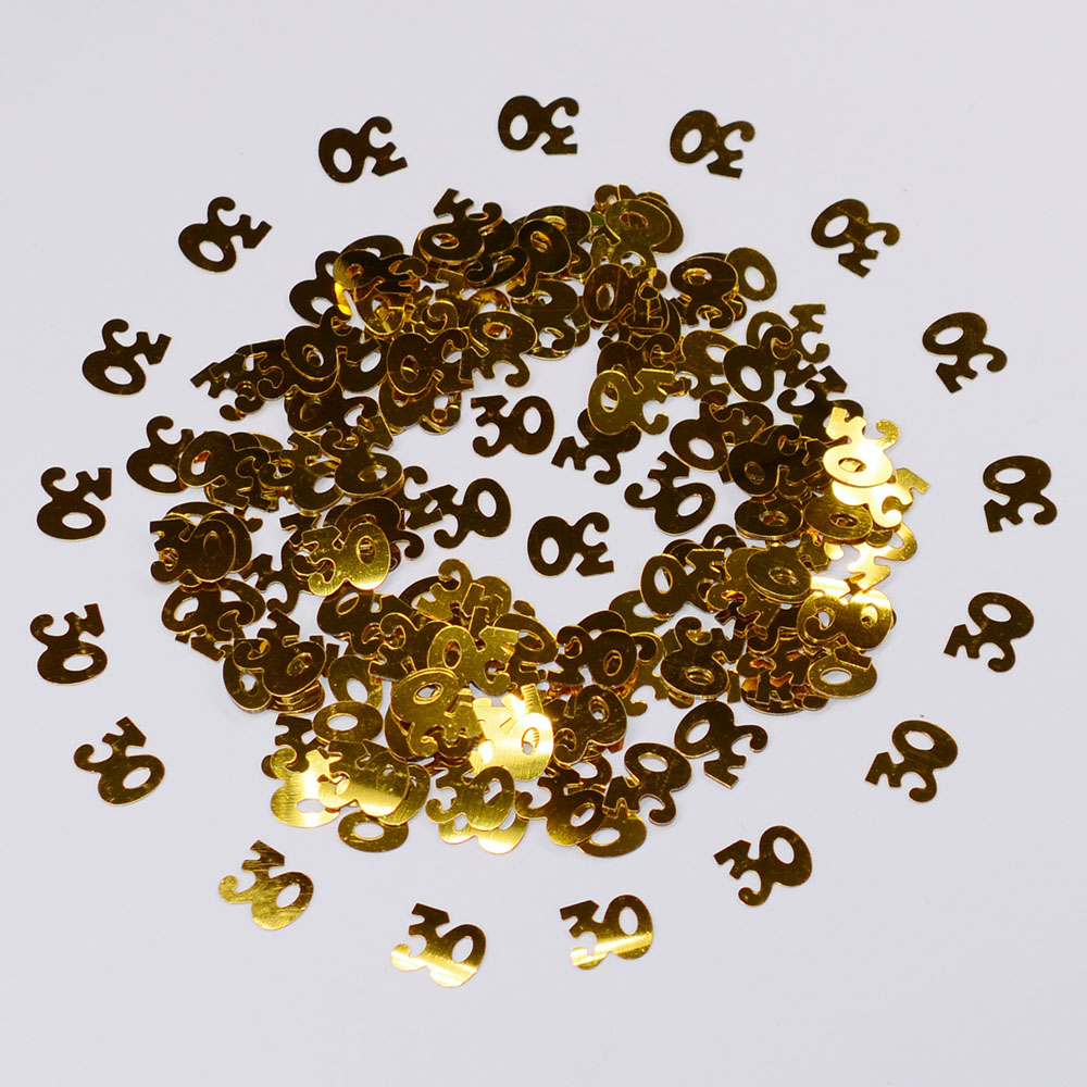 15g Gold Digitals Figures 16 18 <font><b>30</b></font> 40 50 60 <font><b>Confetti</b></font> Happy Birthday Party Numbers Table Scatters Decorations Sprinkle Metallic image