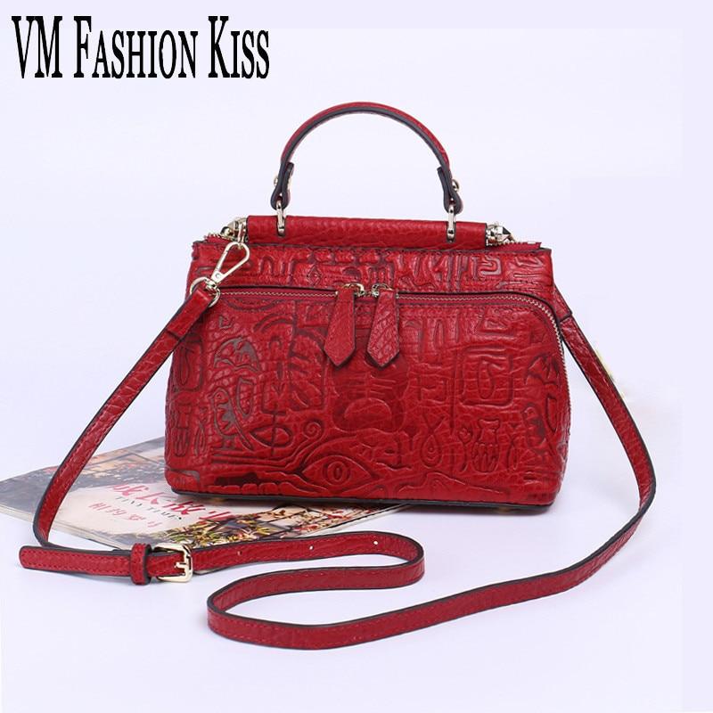 VM FASHION KISS Vintage Genuine Leather Women Shoulder Bag Embossed Leather Flap Handbag Luxury Ladies Small Messenger Bag