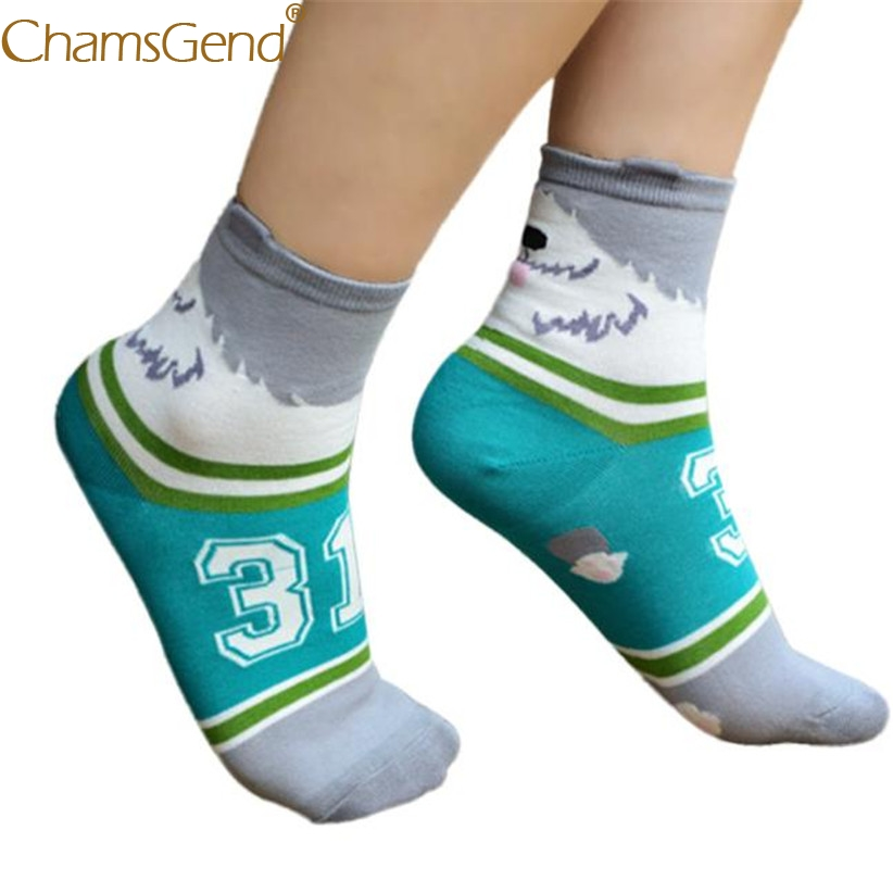 Chamsgend Socks 1Pair Women Men Harajuku Kawaii Dog Number Print Funny Socks calcetines mujer 71219