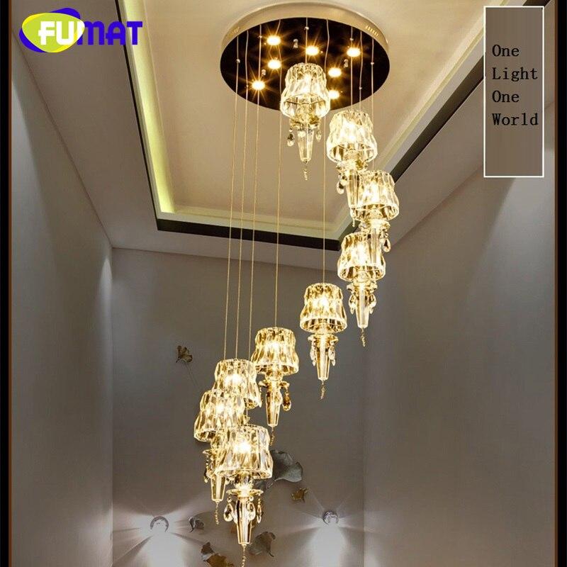 FUMAT Cristal K9 Escalier Plafond Lampes Moderne Villa Lustre Éclairage GU10 110 v 240 v LED De Luxe Suspendus Luminaire lampe
