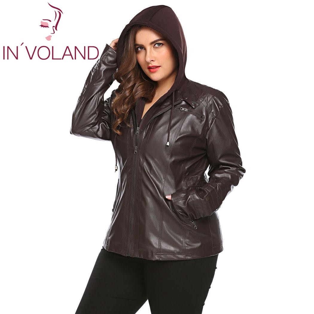 IN'VOLAND Big Size Women Jacket Coat Winter Autumn Hooded Long Sleeve Lady Large Faux-Leather Jacket Outerwear Plus Size 3XL 3