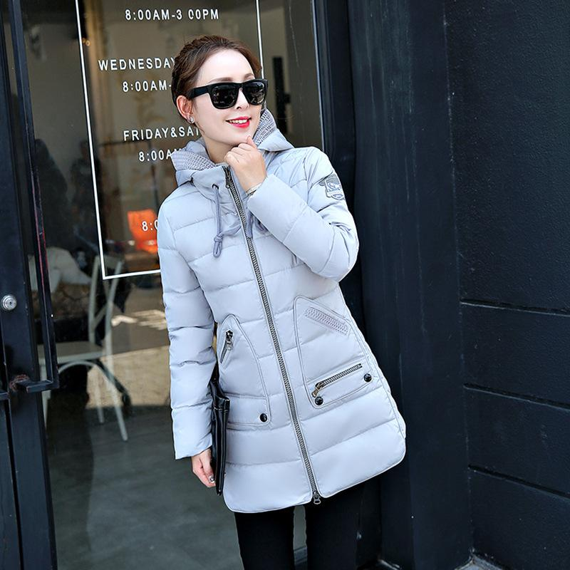 2017 Winter Warm Down Jacket Women Zipper Slim Long Hooded Outerwear Female Fashion Cotton-Padded Long Wadded Coat Jacket Parka 3 colors l 2xl 2015 new women winter down cotton padded coat female long hooded wide waisted jacket zipper outerwear zs247