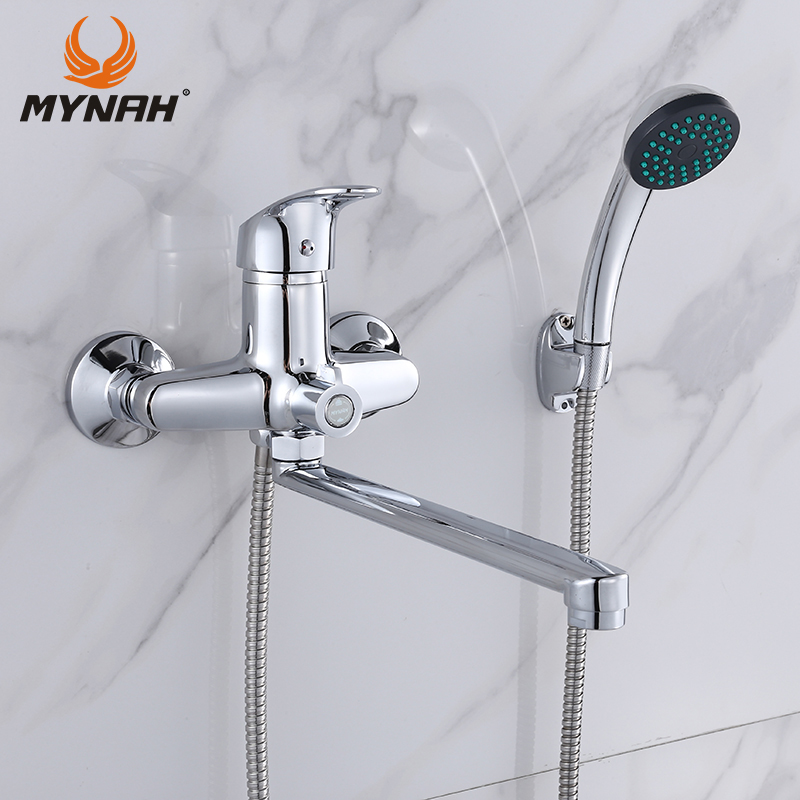 MYNAH Bathroom Faucet Bathroom Shower Faucets Bath Tap Bath Mixer Shower System Cold and Hot Shower with Mixer Copper M22290 beautiful winter river and trees print bath decor shower curtain