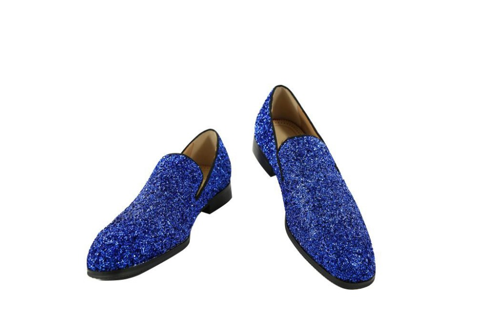 Luxury Handmade blue sliver Square bling bling Loafers Stylish Suede Men's Slip on Dress Shoes Fashion Men Party And Prom Shoes new arrived royal blue rhinestone mens loafers luxury fashion slip on men suede shoes handmade men s wedding and prom shoes