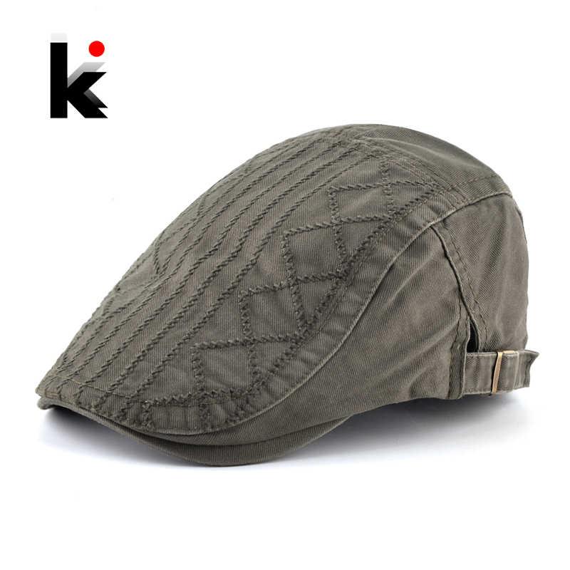da7007cf 2018 Autumn Boina Men's Cotton Beret Caps Men Adjustable Newsboy Cap Spring  Solid Color Peaked Hat