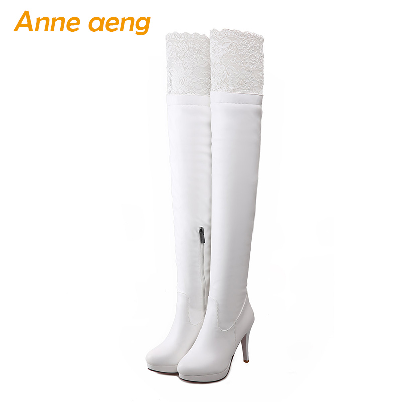 Winter Women Over-The-Knee Boots Platform High Thini Heels Zipper Lace Sexy Ladies Women Shoes White Thigh High Boots Big Size dlp extruder 3d printer wanhao d7 3d printer the newest design duplicator 7 3d printer and popular in jewelry industry