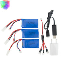7.4v 1500mah Lipo battery batteries 3pcs and charger with plug for Feilun FT009 2.4G RC Racing boat Spare Parts wholesales