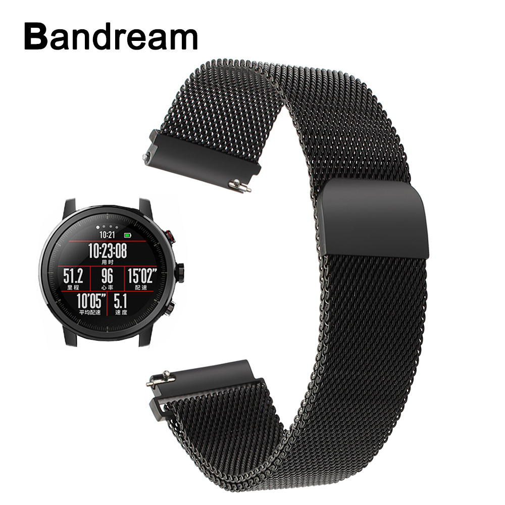 Milanese Stainless Steel Watchband for Xiaomi Huami Amazfit 2 / 2S Stratos Magnetic Buckle Watch Band Quick Release Sports Strap
