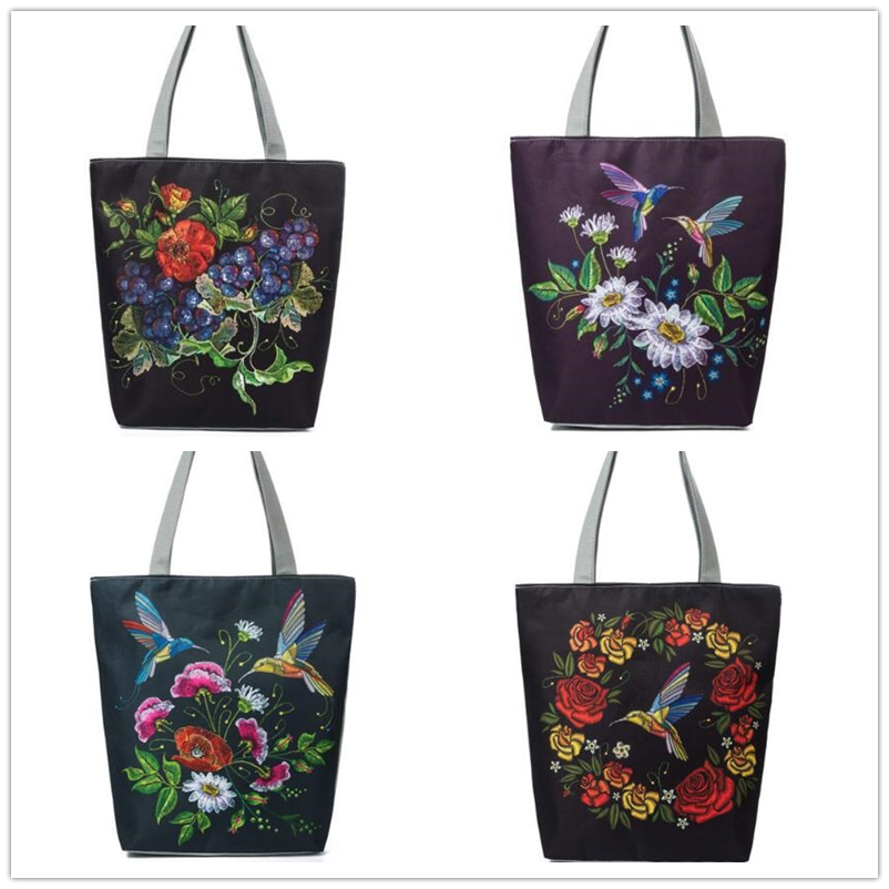 Birds And Floral Printed Beach Bag Female Shopping Bag Women Casual Canvas Tote Handbags Embroidery Shoulder Bags