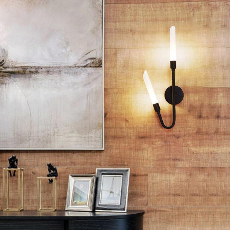 Золотой черный 6 Вт настенные светильники светодиодные для ТВ Задний план современный 2 головки G9 LED Крытый настенный светильник включены Пр...