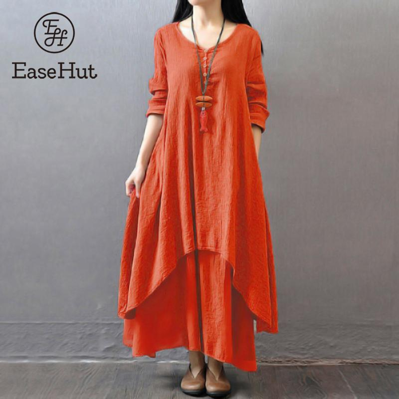 EaseHut Vintage Women Casual Loose Dress Solid Long Sleeve Boho Ethnic Autumn Long Maxi Dresses Plus Size Retro vestido mujer 1